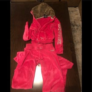 VS Pink Velour Sweatsuit
